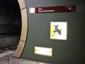 To the elevator to the Zoo on the surface above the train station.