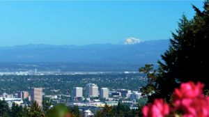Mt. Adams beyond downtown Portland as seen from Council Crest on the 4T.